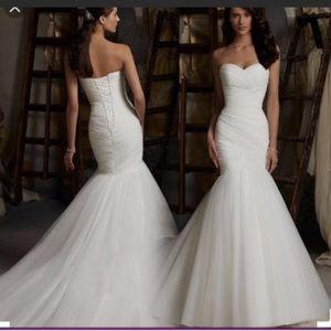 Morilee Asymmetrical Mermaid Draped Wedding Dress